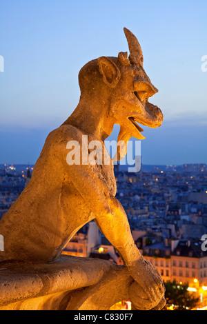 Frankreich, Paris, Wasserspeier von Notre Dame Cathedral - Stockfoto