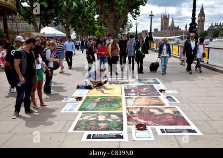 Streetart-Künstler, South Bank, London, England - Stockfoto