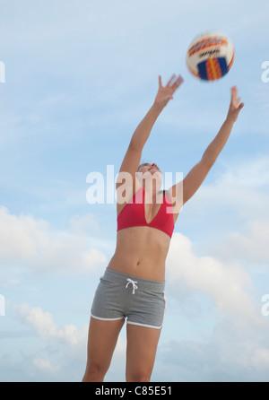 Frau, Reef Playacar Resort und Spa Hotel, Playa del Carmen, Quintana Roo, Halbinsel Yucatan, Mexiko - Stockfoto