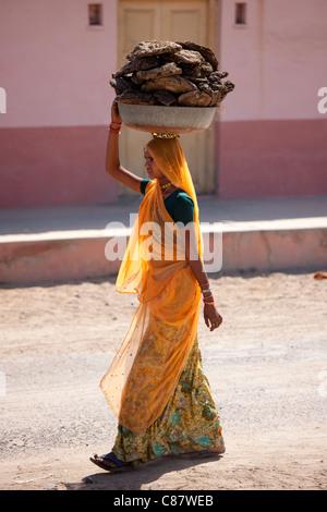 Indische Frau in Sari mit Kuhdung pats trocknen zum Kochen Kraftstoff im Khore Dorf in Rajasthan, Nordindien - Stockfoto