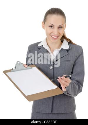 Büroleitung, gibt eine Frau zu signierende Dokument - Stockfoto