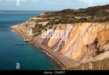Alum Bay, Isle Of Wight. Von geologischem Interesse und eine touristische Attraktion ist die Bucht bekannt für seine - Stockfoto