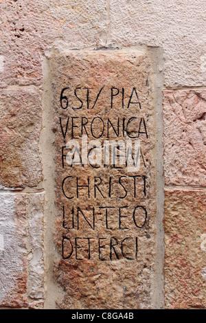 Station 6 wo Veronica wischte sich das Gesicht von Jesus, Jerusalem - Stockfoto