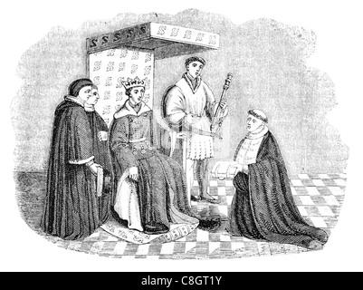 Stuhl und karierten Boden Zeit Henry V Throne Krone Bischof King regal royal imperial souveräner Herrscher Monarch - Stockfoto
