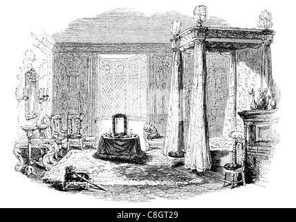 Schlafzimmer-Möbel-Herrschaft von James king ich regal royal imperial souveräner Herrscher Monarch Potentat gekrönte - Stockfoto