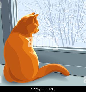 rote britische Katze sitzt auf der Fensterbank im Winter und schaut aus dem Fenster auf die schneebedeckte Bäume - Stockfoto