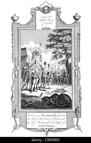 Die Krone von Richard III auf den Kopf der Earl of Richmond von Lord Stanley gesetzt, nach der Schlacht von Bosworth - Stockfoto