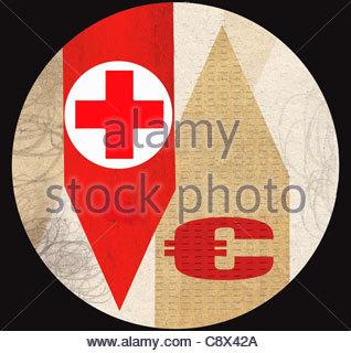 Rotes Kreuz mit Euro-Symbol auf Pfeile - Stockfoto