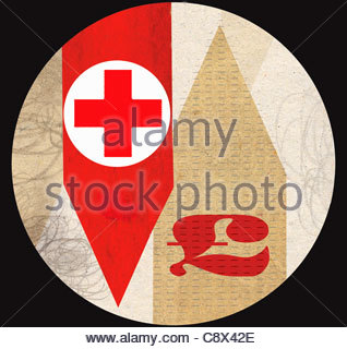 Rotes Kreuz mit britischen Pfund-Symbol auf Pfeile - Stockfoto