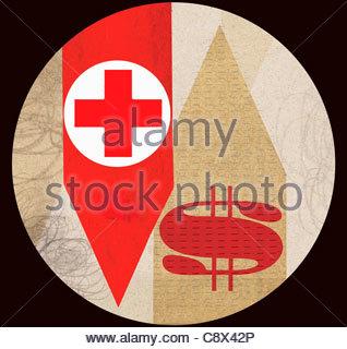Rotes Kreuz mit Dollarzeichen auf Pfeile - Stockfoto