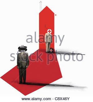 Geschäftsleute mit Rotkreuz- und Dollarzeichen für Köpfe - Stockfoto