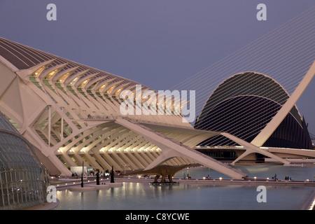 Stadt der Wissenschaften und Künste von Architekt Santiago Calatrava, Valencia, Spanien, - Stockfoto