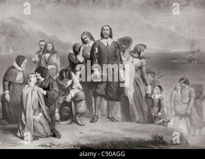 Die Landung der Pilgerväter, Plymouth, Massachusetts, Nordamerika auf 21. Dezember 1620. - Stockfoto