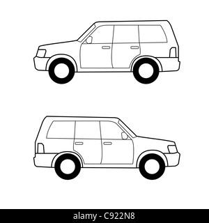 Auto, schwarze Vektorlinien auf weißem Hintergrund - Stockfoto