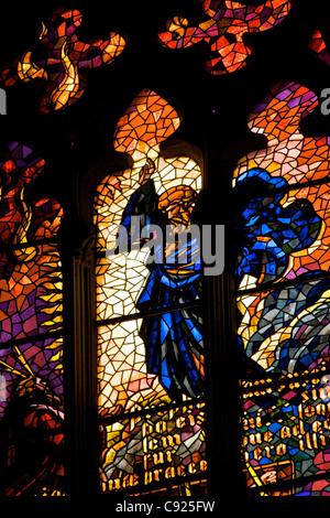 Glasmalerei im Inneren der Kathedrale Catedral La Seu aus betrachtet. La Seu ist eine gotische römisch-katholische - Stockfoto
