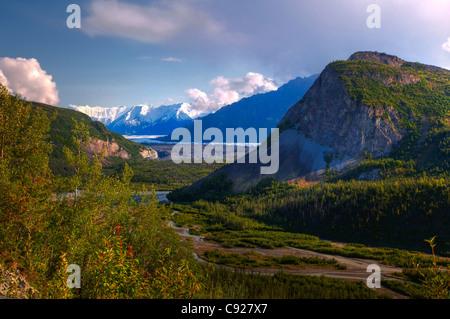 Ansicht des Matanuska Gletscher von Glenn Highway. Southcnetral Alaska, Sommer, HDR