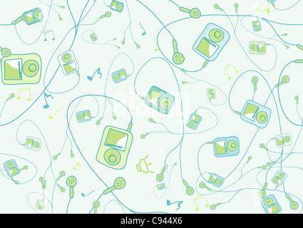Retro-Seamless Pattern der coolen handgezeichneten mp3 Spieler in verschiedenen Farben. - Stockfoto