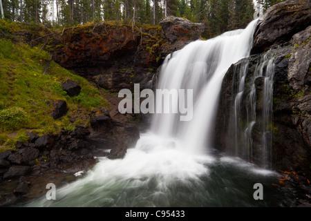 Elch-Wasserfälle sind ein 30 Fuß stürzen auf Langusten Creek im Yellowstone National Park.  Die Wasserfälle wurden - Stockfoto