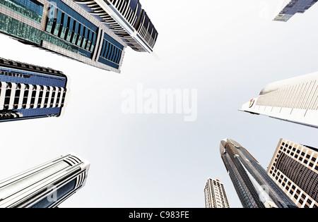 Türme, Hochhäuser, Hotels, moderne Architektur, Financial District, Sheikh Zayed Road, Dubai, Vereinigte Arabische - Stockfoto