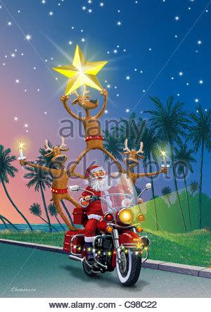 weihnachtsmann auf motorrad santa claus weihnachtsmaenner. Black Bedroom Furniture Sets. Home Design Ideas