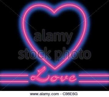 Neon Herz lila - Stockfoto