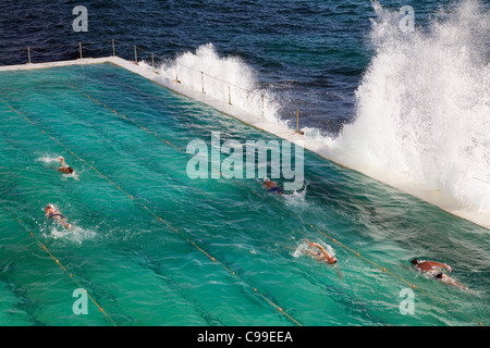 Schwimmer Runden am Bondi Bäder - Heimat der Bondi Icebergs Schwimmverein. Sydney, New South Wales, Australien - Stockfoto