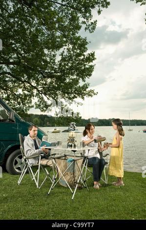 Deutschland, Bayern, Woerthsee, Familiencampingplatz in der Nähe von See - Stockfoto