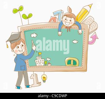 Junge und ein Mädchen in Schuluniform mit einer Tafel - Stockfoto