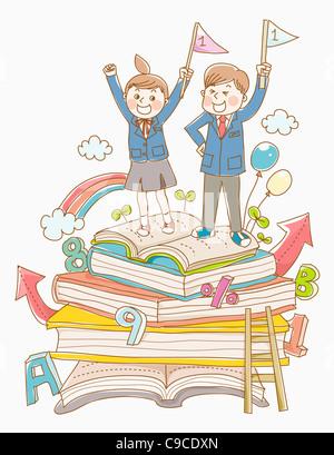Junge und ein Mädchen in Schuluniform auf Bücher - Stockfoto
