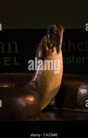 22. März 2012. Eine volle 48-Fuß-langen, 2.500 Pfund Modell einer gigantischen Schlange namens Titanoboa verbraucht - Stockfoto