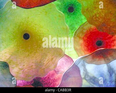 3. Juni 2004; Los Angeles, Kalifornien, USA; Abstrakte Glasblumen. - Stockfoto