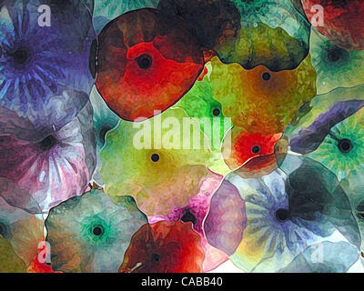 3. Juni 2004; Los Angeles, Kalifornien, USA; Abstrakte Glasblumen. - Stockfoto