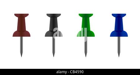 Realistische Vektor-Illustration von Push-Pin-Sammlung - Stockfoto