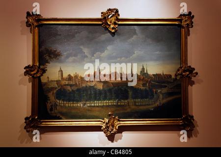 Ein altes Ölgemälde, Leipzig angezeigt im Museum Altes Rathaus Altes Rathaus, Leipzig Sachsen Deutschland - Stockfoto