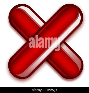 Coronavirus Covid-19-Konzept. Abbildung: Zwei rote Kapseln, die ein X bilden, um die Gefahren von Drogen und Drogensucht - Stockfoto