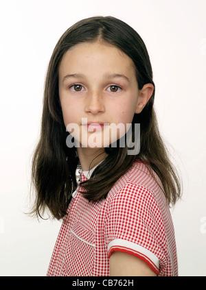 Hübsches junges Mädchen in rot karierte Kleid - Stockfoto