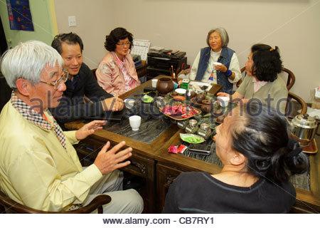 San Francisco Kalifornien Chinatown ethnische Nachbarschaft Grant Street Teestube Tee Haus Cha Guan Familie asiatischen - Stockfoto
