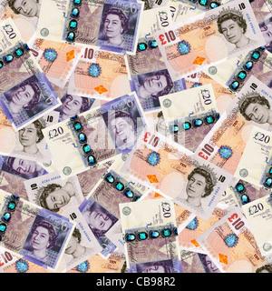 Geld - stellt zehn und zwanzig Pfund Sterling Währung Draufsicht - Stockfoto