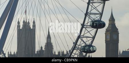 Millennium Wheel und Houses of Parliament, London, UK - Stockfoto