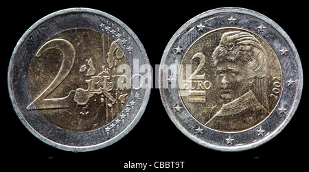 Zwei Euro Münze Mit Europa österreich Rückseite Verwendet Blick