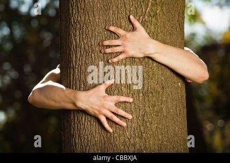 Teenager umarmen Baum im park - Stockfoto