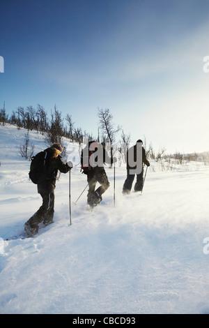 Langläufer, Wandern im Schnee - Stockfoto