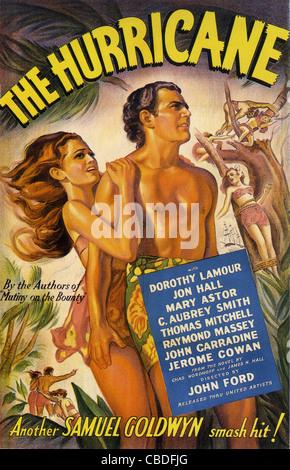 DIE Hurrikan-Poster für 1937 Film mit Dorothy Lamour, John Hall und Mary Astor - Stockfoto