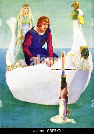 Legende sagt, dass König Arthur von Großbritannien sein Schwert Excalibur, genannt, von der Dame des Sees, die ihm - Stockfoto