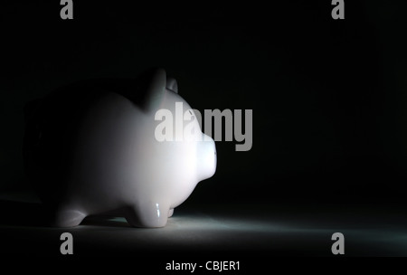 PIGGY BANK IN DÜSTEREN LICHT RE WIRTSCHAFTLICHE TRÜBSINN REZESSION ABSCHWUNG EINSPARUNGEN FINANZIELLE EINSPARUNGEN - Stockfoto