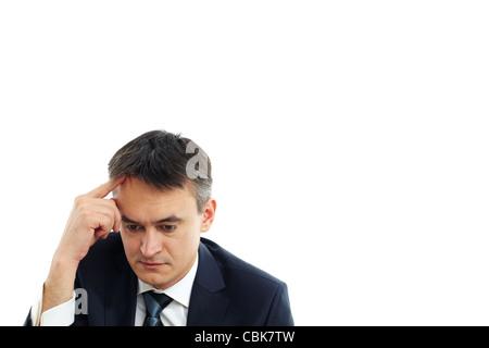 Bild des ernsthaften Geschäftsmann berühren seine Stirn beim Denken - Stockfoto