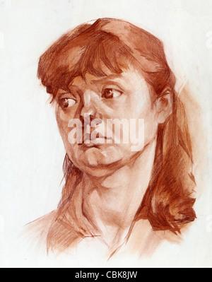 Grafik Porträt eines Mädchens gemalt sanguine - Stockfoto