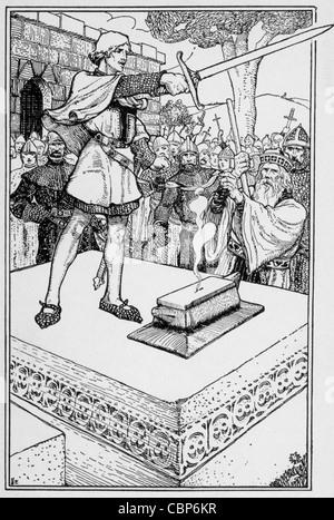 Arthur, unehelicher Sohn von König Uther Pendragon, zeigt sein königliche Blut durch ein Schwert aus einem Stein - Stockfoto