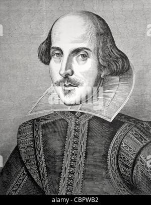 William Shakespeare (1564-1616) Portrait von Martin Droeshout. Titelblatt der ersten Folio-Ausgabe der gesammelten - Stockfoto
