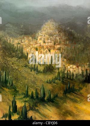 """Bild von mir gemalt """"Virtuelle Toskana"""" genannt, zeigt es mystische Landschaft mit mediterraner Vegetation und einem - Stockfoto"""